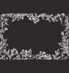 christmas frame with conifers vector image