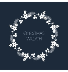 Christmas greeting wreath with rowanberryfir vector image