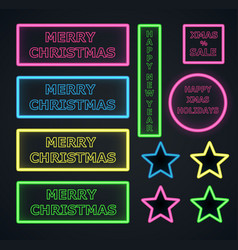 Christmas neons frame on dark background vector