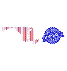 collage of gradiented dotted map of maryland state vector image