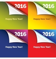 Colored stickers with bent corners Happy New Year vector