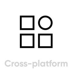 Cross platform ad block icon editable line vector