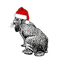 Cute christmas bunny in santa claus red hat vector
