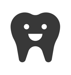 Cute healthy tooth smile dental related solid icon vector