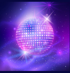 Disco ball with star shapes vector