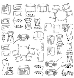 Doodle of music tools pack hand draw vector