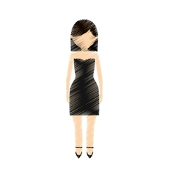 Drawing avatar woman cute black dress vector