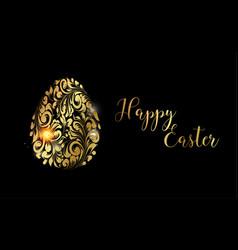 easter egg golden egg on black background vector image