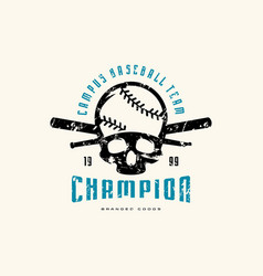 emblem baseball champion team vector image