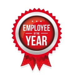 Employee of the year badge with ribbon vector image