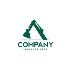 excavators construction machinery logo vector image
