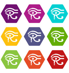 Eye horus icons set 9 vector