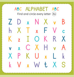 Find and circle every letter x worksheet vector