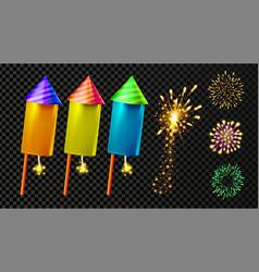 firecracker and festive firework light set vector image