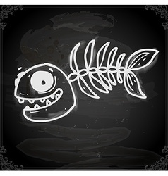 Fish Skeleton Drawing on Chalk Board vector