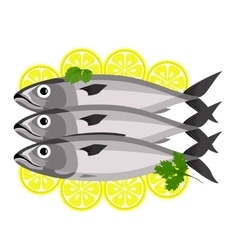 Fish with parsley and lemon vector image