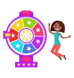 Fortune wheel happy winner prize in casino vector