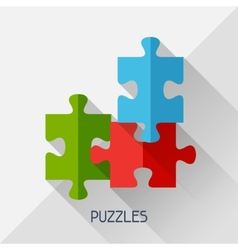 Game with puzzles in flat design style vector