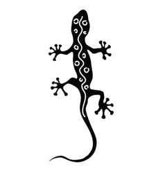Gecko in black silhouette with white line vector