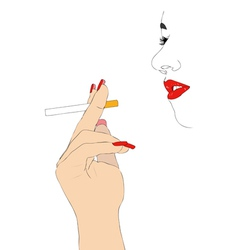 Girl with cigarette vector