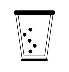 Glass cup with sparkly beverage icon image vector