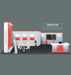 Grand exhibition stand display mock up high vector