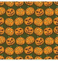 Halloween pumpkins seamless pattern vector image
