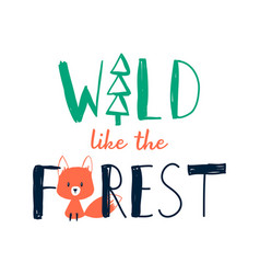 Hand drawing fox and forest vector