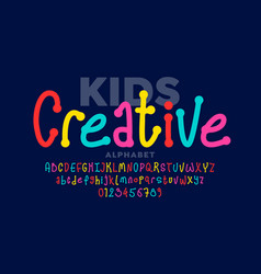 hand drawn style kids font vector image