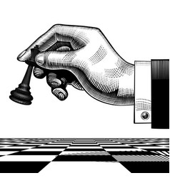 hand with a black king chess piece vector image