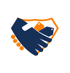handshake shied shop vector image