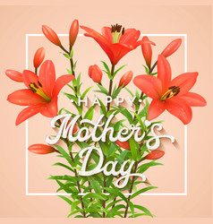 Happy mothers day greeting card with red lilies vector