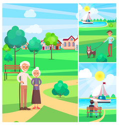 happy senior couple in park poster people outside vector image