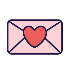 happy valentines day envelope heart love messsage vector image