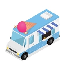 Ice Cream Van Isometric View vector image