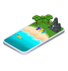 isometrics summer sports smartphone application vector image