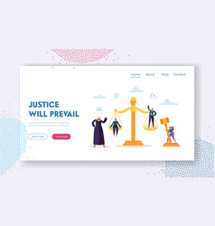 Justice will prevail landing page judge vector