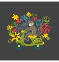 Monkey on the vintage scooter vector image