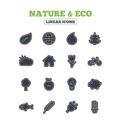 Nature and Eco icons Trees rose flower vector image