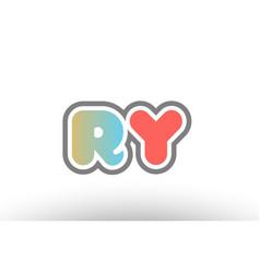 Orange pastel blue alphabet letter ry r y logo vector