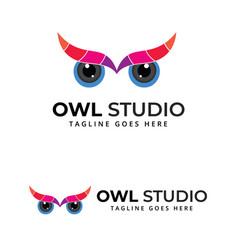 Owl camera eye abstract multicolor logo design vector