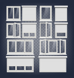 Plastic pvc windows set different types vector