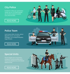 Police people flat banners vector