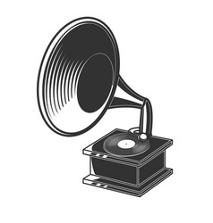 retro gramophone in engraving style design vector image