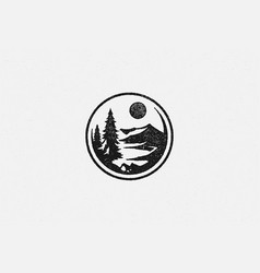 round emblem with forest trees and mountain ridge vector image
