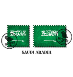 saudi arabia flag pattern postage stamp with vector image