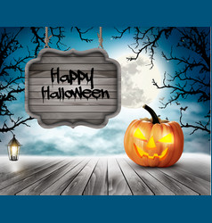 Scary halloween background with pumpkins and vector