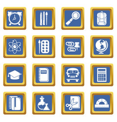school education icons set blue square vector image