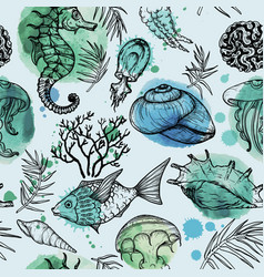 Seamless watercolor pattern with sea organisms vector