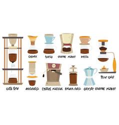 Set 10 coffee makers for alternative methods vector
